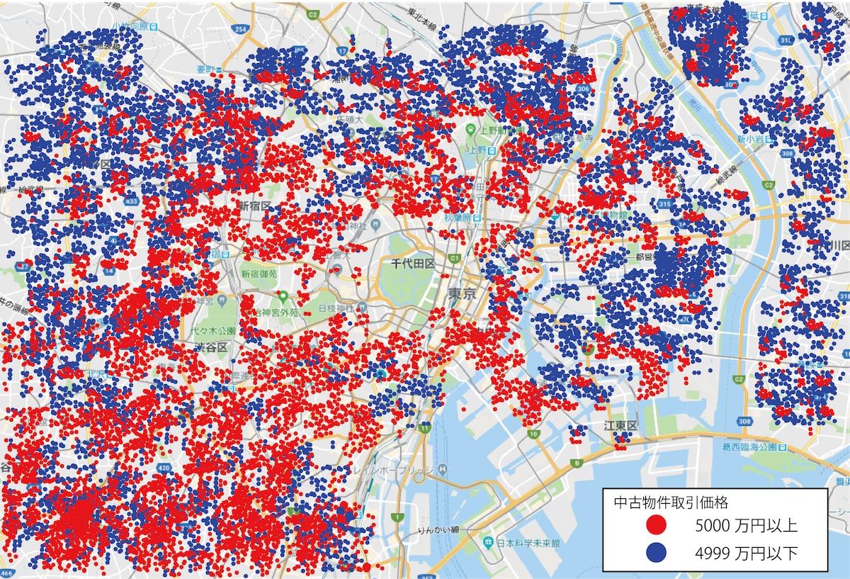 東京23区内で同一基準の中古物件を取引価格ごとにGoogle Map上で表示